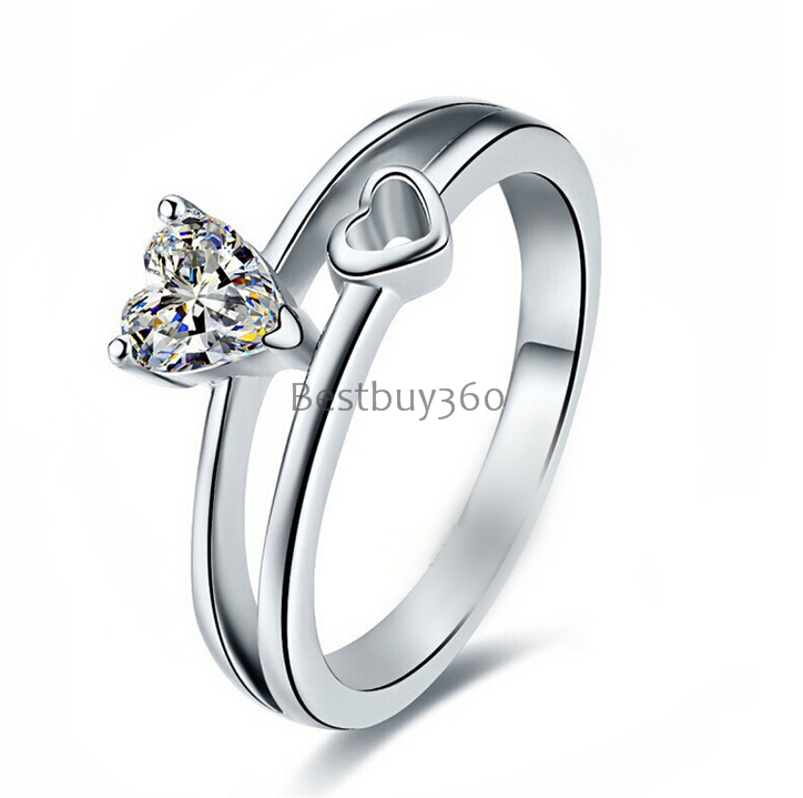 0.5ct 3 prongs 925 sterling silver ring SONA diamant ring female heart gold-plated ring love letter engrave ring (YD) 0 5ct 3 prongs 925 sterling silver ring sona diamant ring female heart gold plated ring love letter engrave ring yd