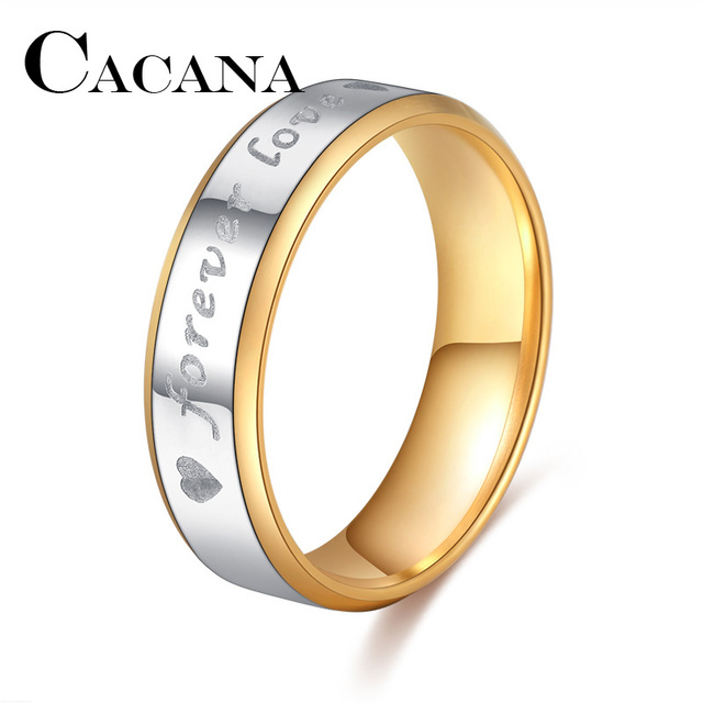 CACANA Titanium Stainless Steel Rings For Women Forever Love Circle Engagement F