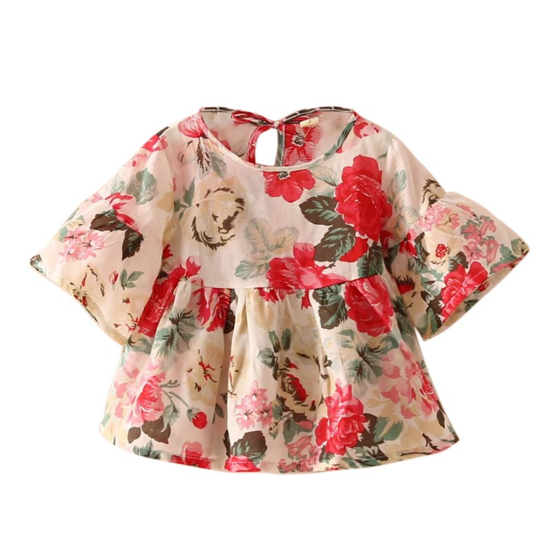 Baby Girl Dress   Shirts   For Girl Kids Retro Floral Flare Sleeve O-neck Girls Tops Party Ruffles   Blouses