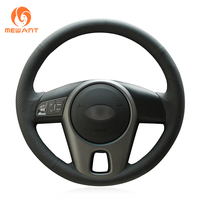MEWANT Black Artificial Leather Car Steering Wheel Cover for Kia Forte 2009 2014 Soul 2010 2013 Rio 2009 2011