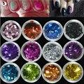 Sara Nail Salon 1 Caso Novo Design 12 Cores Decorações Da Arte Do Prego Losango Paillette Unhas Glitter Pó Dedo 3D Design NC326