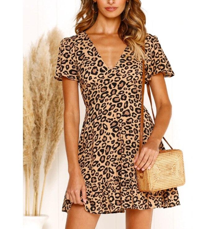 Ruffle Sexy V Neck Dress Women Mini Short Dress Zipper Beach Summer Print Lady Leopard Dresses 2019 Boho Holiday Style New in Dresses from Women 39 s Clothing