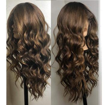 Eversilky środkowa część podkreśla peruka 360 koronka Frontal włosów ludzkich peruk dla kobiet peru peruka body wave Remy włosy wstępnie oskubane tanie i dobre opinie Ciało fala Peruwiański włosów Średnia wielkość Średni brąz Ciemniejszy kolor tylko Swiss koronki 360 Lace Frontal Wig