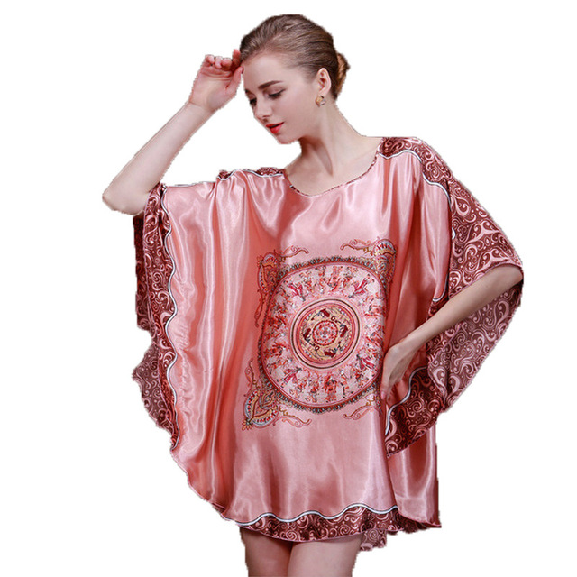 Summer Sexy Female Printed Satin Silk Nightgown Sleepshirts Plus Size Women  Sleepwear Short Sleeve Bathrobe Nightwear Dresses ac72b8697