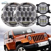 7 Inch 75W Headlights Hi Lo Beam 6000K LED 4 Inch Fog Lights Daymaker Projector
