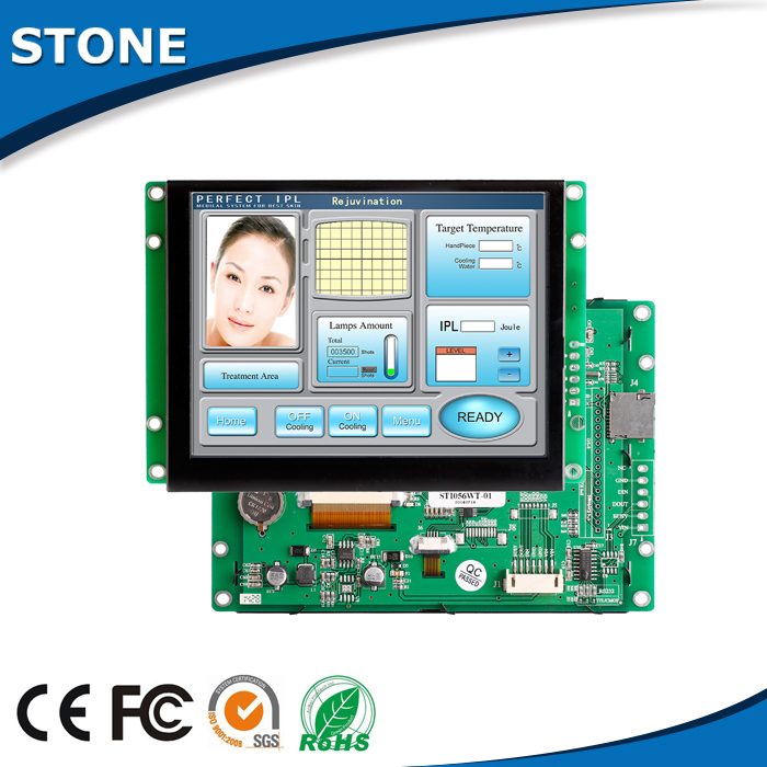 3.5 Inch Sunlight Readable High Level TFT LCD Module With RS232 Display And Touch Screen