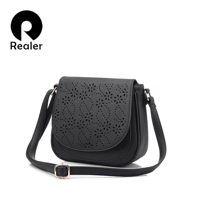 REALER маленькая сумка женская через плечо, женская кроссбоди сумка, модная милая сумка из pu кожи с нахлестом