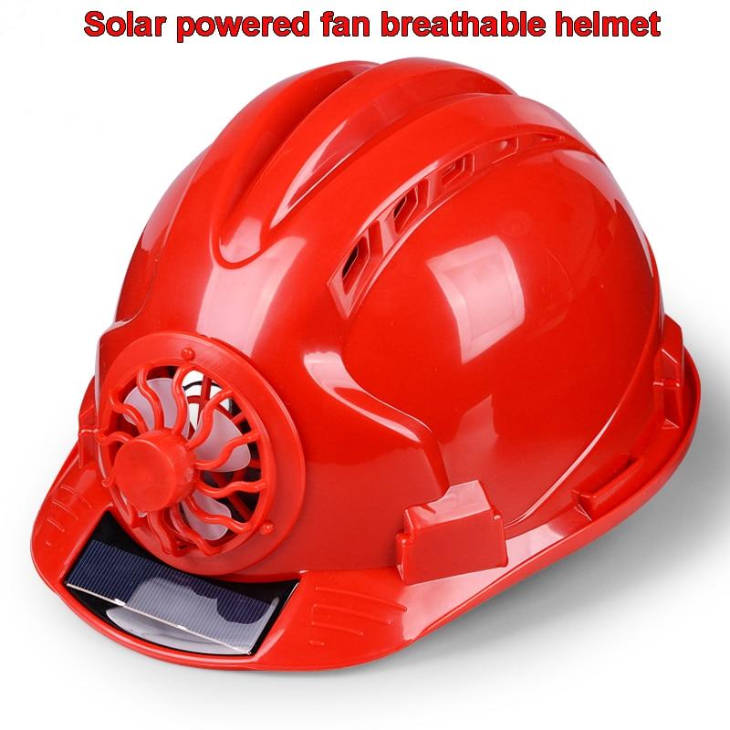 FX058 Solar fan helmet Solar energy Power fan cut back Heat Cool helmet ABS plastic Anti-shock Flood prevention helmet