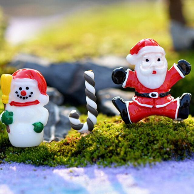 US $0 87 16% OFF|3pcs Santa Claus Snowman crutch Christmas Decoration  miniature Figurine fairy garden love resin craft Kids toy-in Figurines &