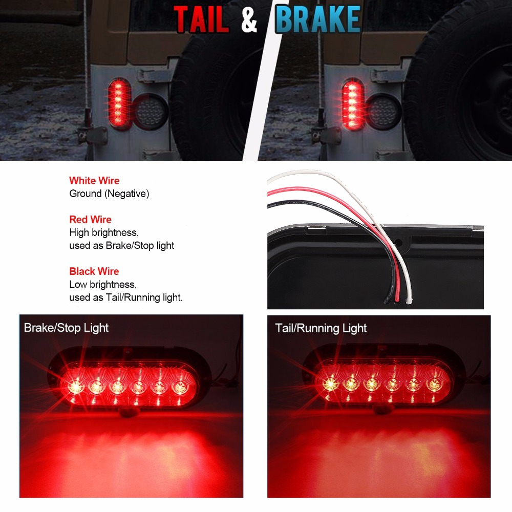 Keyecu 6 Red Oval Led Stop Turn Signal Tail Park Lights For Trailer Also Along With Wiring Truck Waterproof 12v W Chrome In Lamp From Automobiles Motorcycles On