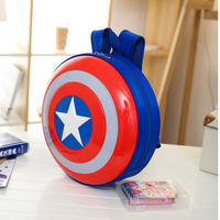 Personality Children's Backpack Red Blue and White Five pointed Star Round School Bag PVC Cartoon Egg Shell Students Bags