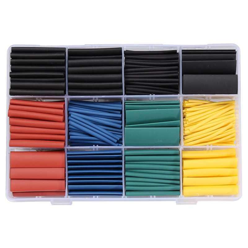 530 ชิ้น/ล็อต 8 หลอดฮาโลเจน - ฟรี 2:1 ลวด Cable Sleeving สำหรับ Wrap ลวดชุดหลอด Assortment sleeving Wrap หลอด