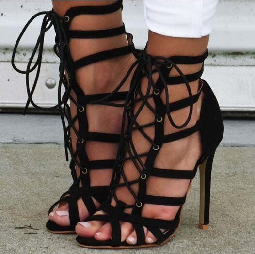 Black suede cross-tied lace up high heel sandals peep toe stiletto heel cut-outs dress sandal summer booties sandalia feminina cd dvd il volo