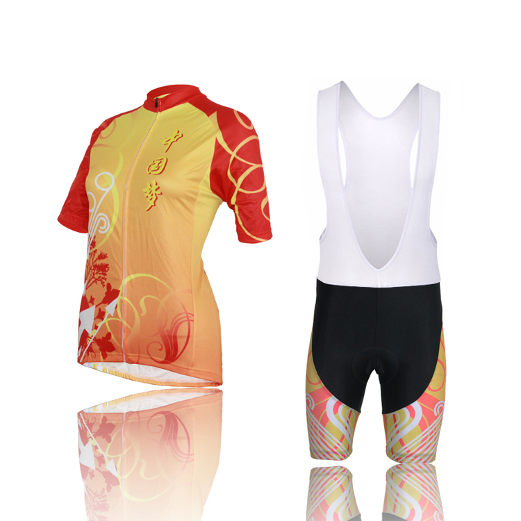 Cycling Clothing Ropa Ciclismo Women Short Sleeve Jersey +Bib Shorts Set Chinese Dream 100% Polyester