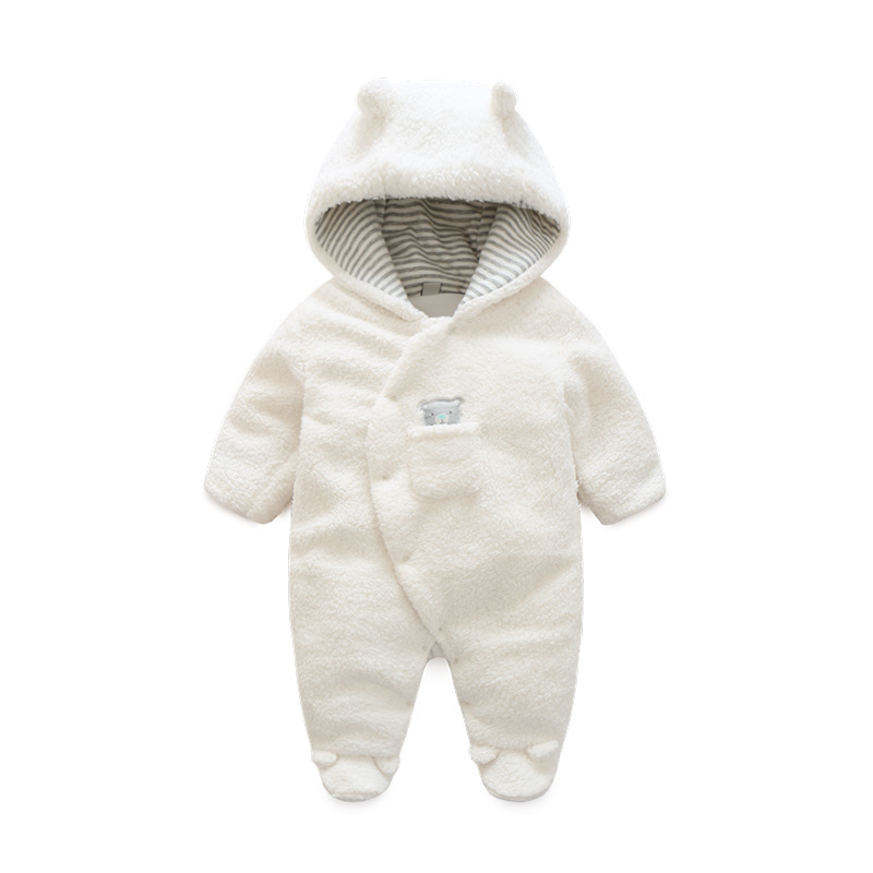 Newborn Baby Clothes Bear Onesie Baby Girl Boy Rompers Hooded Plush Jumpsuit Winter Overalls For Kids Roupa Menina baby girl boy romper tiny cottons white gray long sleeve angel wings baby clothes newborn jumpsuit rompers baby onesie costume