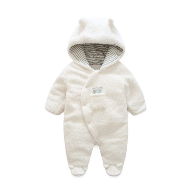 a4517ae8a Newborn Baby Clothes Bear Onesie Baby Girl Boy Rompers Hooded Plush  Jumpsuit Winter Overalls For Kids Roupa Menina