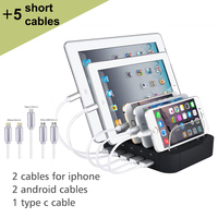 5 port Charging station with cables USB Charger Max 7.8A Desktop Charging Station For iPad iPhone 7 6 6s Plus Samsung S8 Huawei