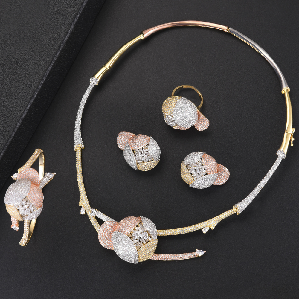 4PCS Fashion Flower Shape Dubai Jewelry Sets For Women CZ Necklace Earrings Bracelet Ring Jewelry Sets For Bride Wedding4PCS Fashion Flower Shape Dubai Jewelry Sets For Women CZ Necklace Earrings Bracelet Ring Jewelry Sets For Bride Wedding