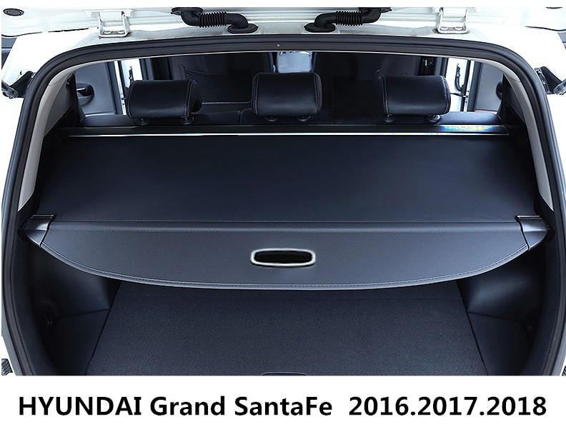 Car Rear Trunk Security Shield Cargo Cover For HYUNDAI Grand SantaFe 2016.2017.2018 High Qualit Black  Beige Auto Accessories car rear trunk security shield shade cargo cover for toyota highlander 2009 2010 2011 2012 2013 2014 2015 2016 2017 black beige