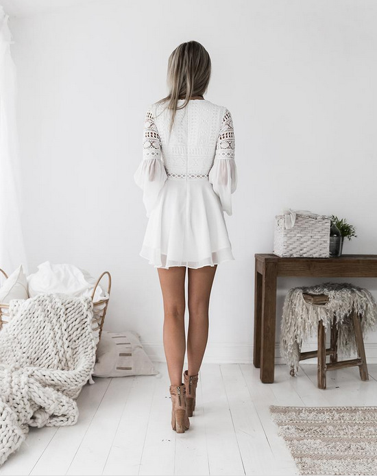 White Lace V-Neck Long Sleeve Boho Dress 2