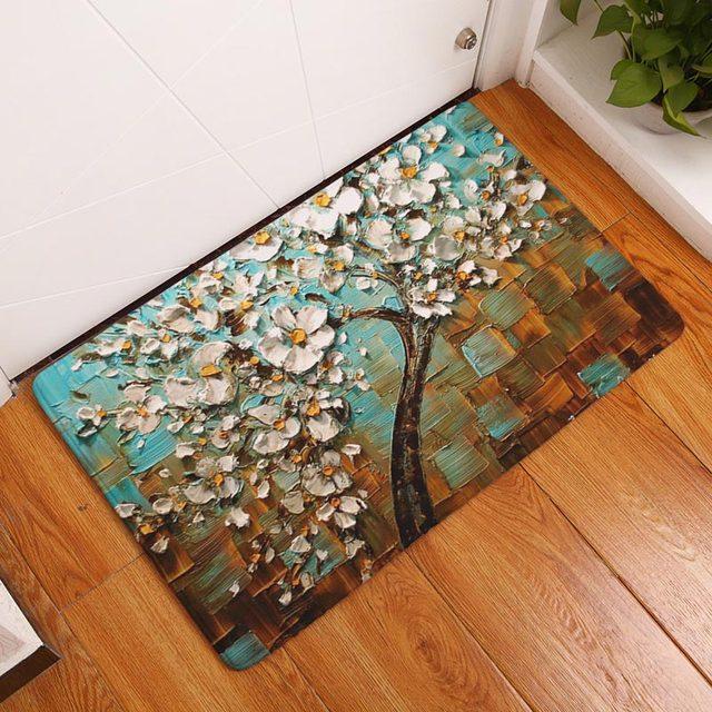 kitchen floor mats rugs amazon 2017 modern 3d painting flower trees carpets anti slip bedroom mat outdoor front door non doormats