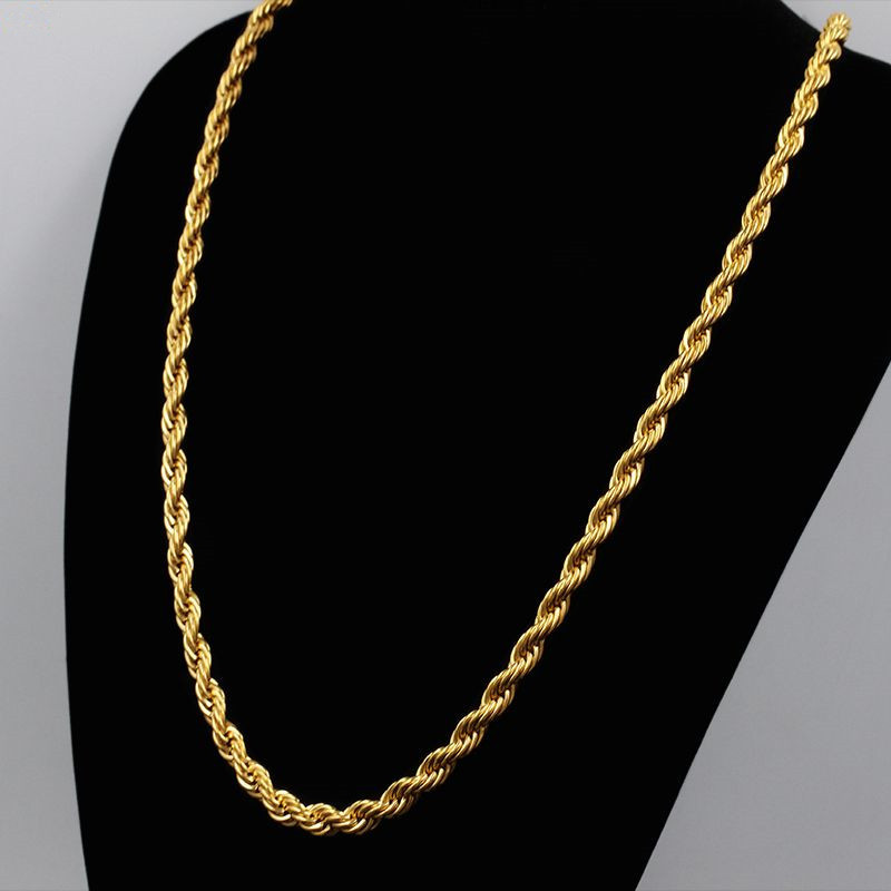 Kpop Vintage Long Necklace Mens Gold Chain 60CM Gold Color Stainless Steel Chain Men Jewelry Colares