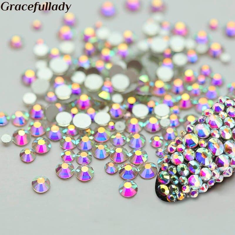 Super Glitter Crystal AB Rhinestone Flat Back Glass Chameleo