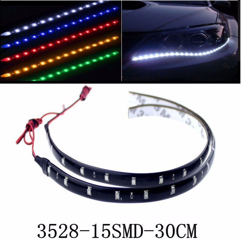3528 1210 patch Car Styling 12V 30cm car LED DRL Light Strip Daytime Running Light motorcycle car bike decoration ip65 x 10pcs