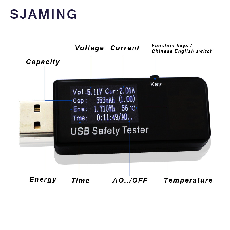 3V-30V 5.1A USB Tester Digital Dispay Current Voltage Charger Capacity Doctor  Power Bank Meter Voltmeter