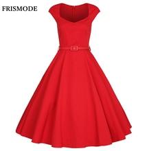 FRISMODE XS-4XL 2017 Летняя Мода V-образным Вырезом Midi Красный Swing Dress Плюс Размер Vintage 1950 s 60 s Платья Женщин Ретро рокабилли Dress