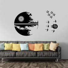 Death Star Wall Decal Wars Endor Battle X Wing Fighters Sticker Decor Pattern Teen Dorm Deco C451