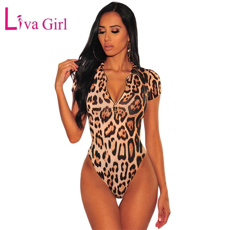 LIVA GIRL Wild Leopard Print Short Sleeve Bodysuit With Zipper Women Sexy Cheetah Bodycon Jumpsuits 2019 Female Fierce Body Tops