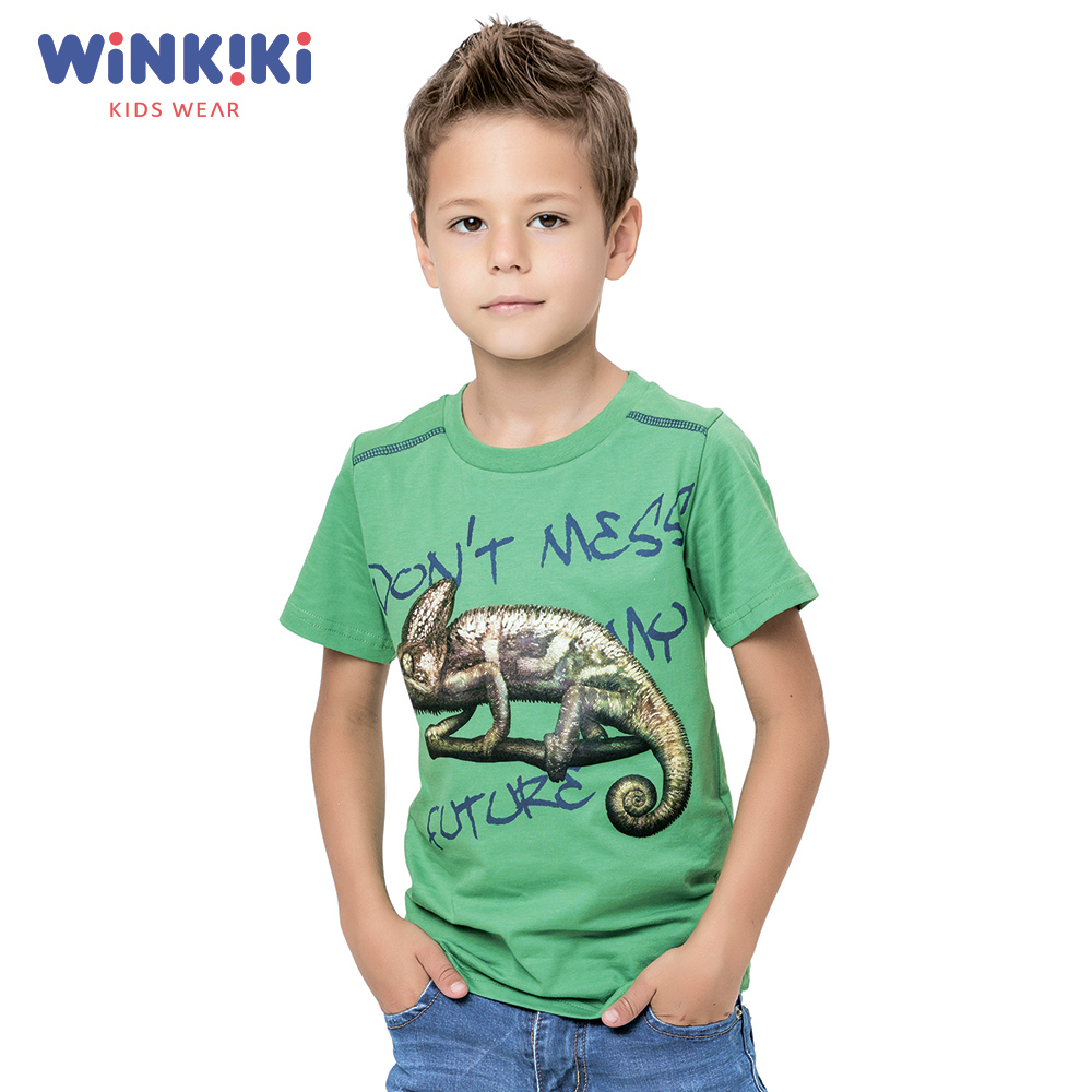 T-Shirts WINKIKI WJB82272 T-shirt kids children clothing Cotton Green Boys Casual green letter print t shirt