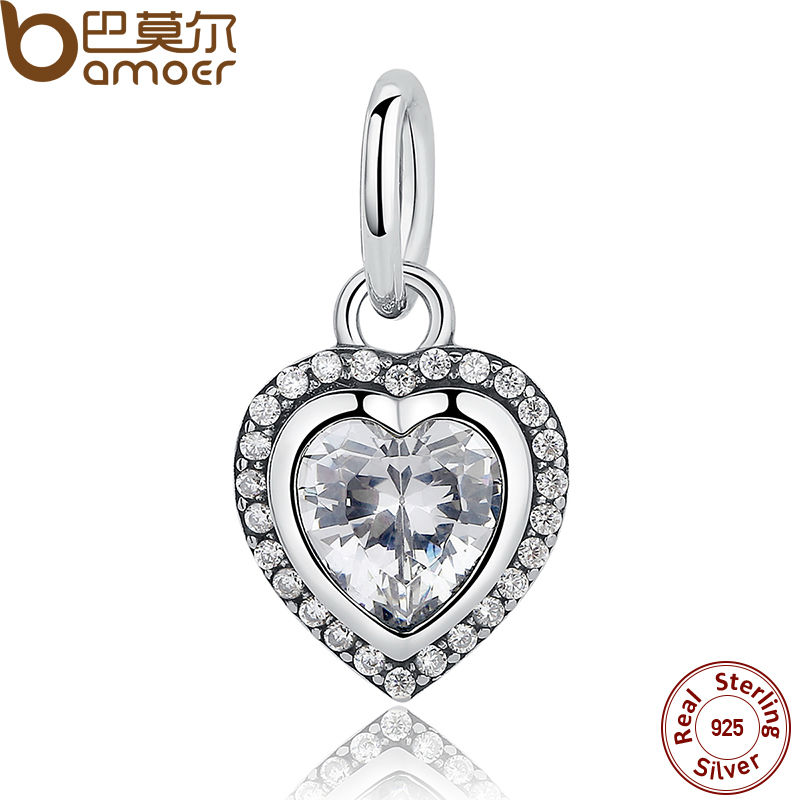BAMOER Brand Fashion 925 Sterling Silver Love Heart Pendant Charms fit Bracelets Necklace Wedding Accessories PAS260 luxury brand love bracelets