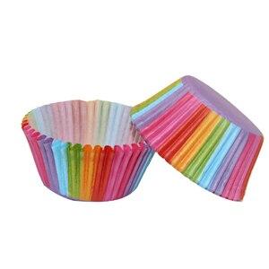 Image 3 - Assadeira de arco íris para cozinha, 100 peças, copo de bolo, papel para cupcake, bandeja para festas, suporte, forros de cupcake, festa de casamento