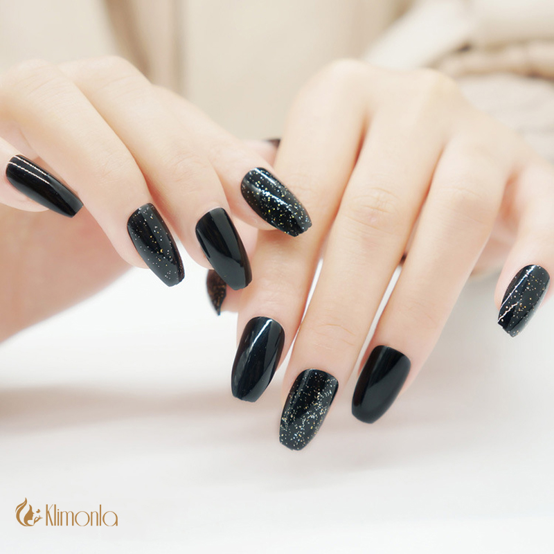 24Pcs/set Black False Nails Ballerina/Coffin French Glitter UV Gel ...