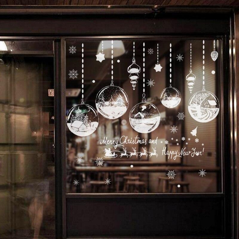 בית תפאורה חג המולד חלון מדבקות עצמי דבק תליית שלג כדור תליון חדש שנה חג המולד פסטיבל זכוכית קיר מדבקות