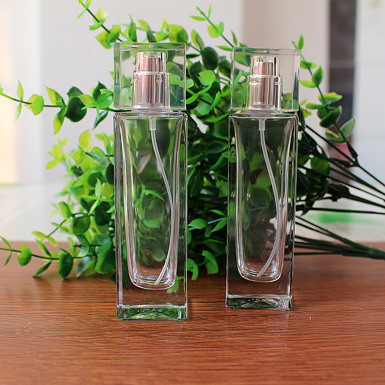 50ML Transparent Flat Square High-quality Perfume Bottles Glass Spray Cosmetic Bottle 2PCSLOT