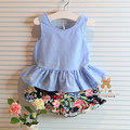 New girls clothing sets bow vest floral pants two-piece children casual conjunto kids clothes suit skirt 2~6age children clothes