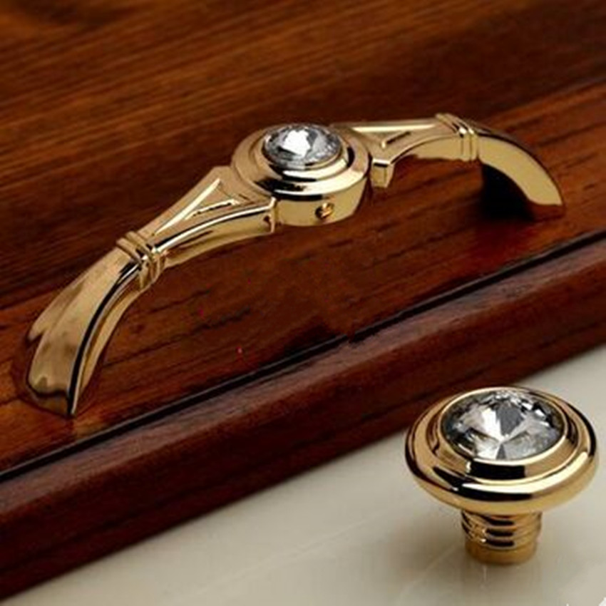 96mm modern fashion deluxe 24K golden dresser door handles glass diamond kitchen cabinet drawer pulls knobs clear K9 rhinestone modern simple fashion clear glass crystal drawer tv table knobs pulls rose gold rhinestone kitchen cabinet cupborad door handles