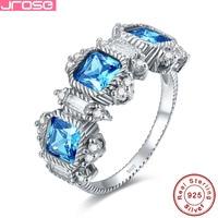 Jrose Design Blue CZ Ring 100% 925 Sterling Silver Jewelry Lady Wedding Jewelry Elegant Gift Box Hot Ring wholesale