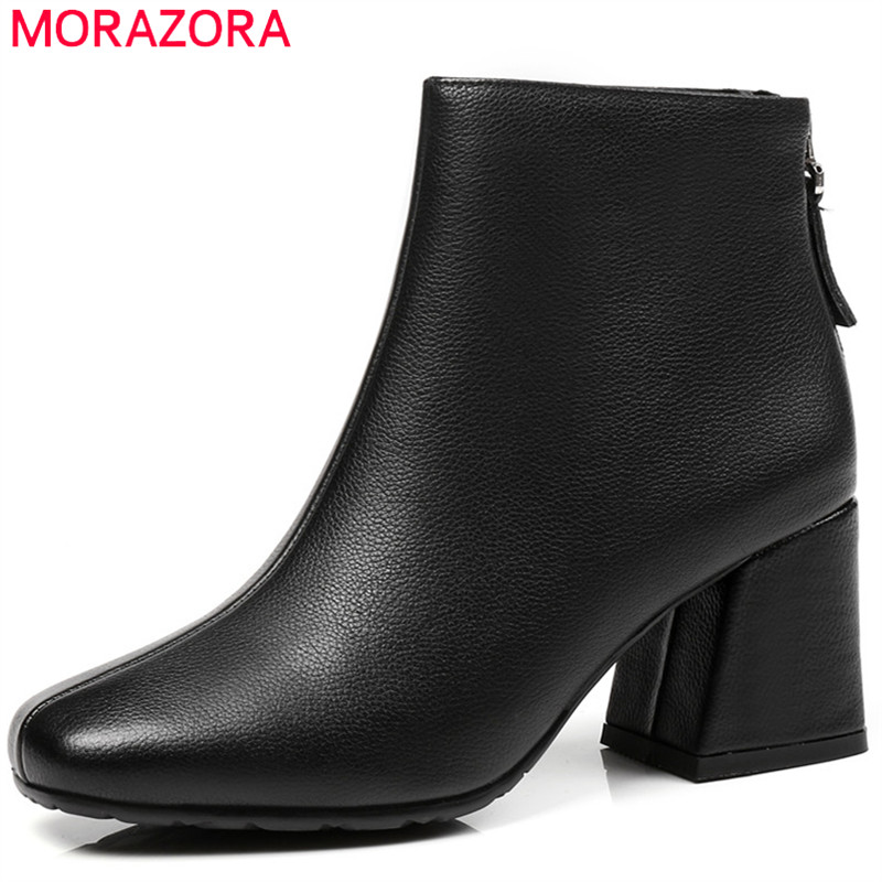 MORAZORA 2018 top quality genuine leather boots simple zip short plush ankle boots for women autumn winter high heels shoes bacia genuine leather boots short plush women shoes black simple style ankle boots with zipper handmade high quality shoes vd021