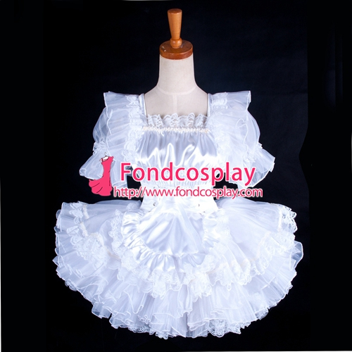 Details about  /Satin Sissy Maid Wedding dress Free shipping @