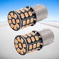 Светодиодная лампа BAU15S 7507 PY21W 1156PY высокой мощности желтого янтаря 33 SMD 2835 для передних поворотников, указателей направления, 2 шт.