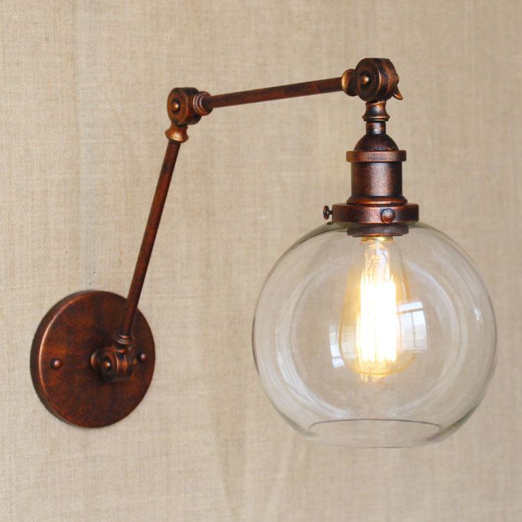 Wall Light Sconces Brace Lamp Shades Retro Double Swing: Double Swing Arms Wall Lights Clear Globe Ball Glass Shade