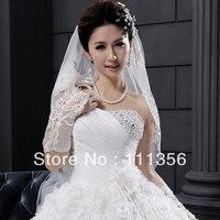 Free Shipping 2 Layer Wedding Elbow Length Lace Beaded Applique Veil Wedding Bridal