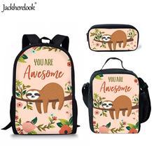 Jackherelook Funny Animal Tropical Sloth Pattern Kids Boys Girls 3PCS Set Schoolbags 3D Print Children Backpacks Student Bookbag