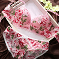 Stylish women lace floral lace embroidery sexy bra underwear push up v shape mature lady red and pink lingerie set with bow