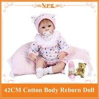 42 CM Nieuwe stijl Reborn Bebe baby poppen met magneet fopspeen volledige handgemaakte pasgeboren baby doll baby educatief speelgoed meisjes gift