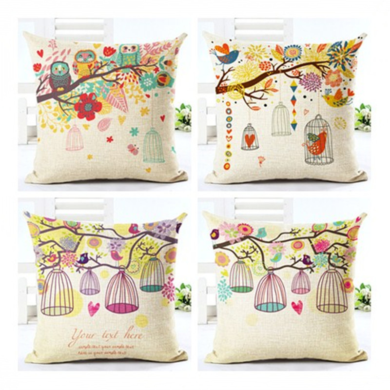 Creative Plant Cage Pattern Pillowcase Cushion Cover Pillow Case For Sofa Home Decor F